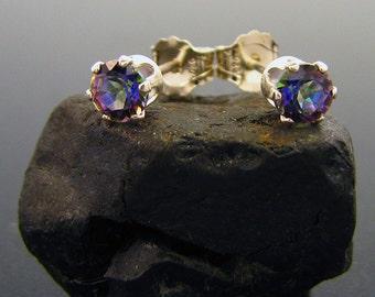 mystic topaz earrings, Blue mystic topaz stud earrings, genuine blue mystic topaz stud, rainbow topaz earrings 4 mm