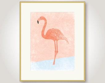 flamingo art print, flamingo printable, flamingo poster, bird art print, coral and blue wall art, digital poster, instant downloaed, jpg