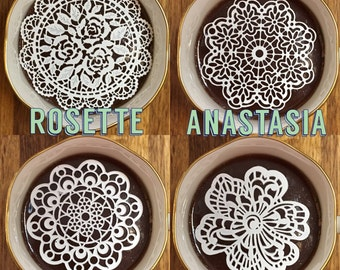 "Choose 24 Sugar Doilies 2.5"" Assortment Edible Tea Coffee Doilies Anastasia Aztec Rosette Gift Flower Wedding Bridal Party Decoration"