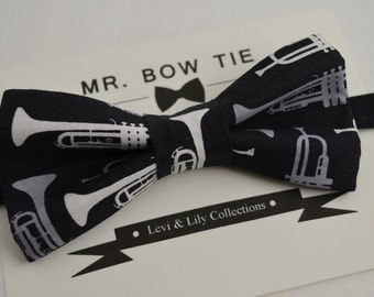 Specialty Musicfest Bowties - Classic Music Trumpet in Black with White/Gray Horns