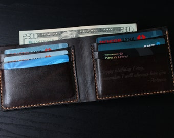 Men's Leather Wallet / Personalized Leather Wallet / Handmade Leather Wallet /Perfect gift for him / VD 01
