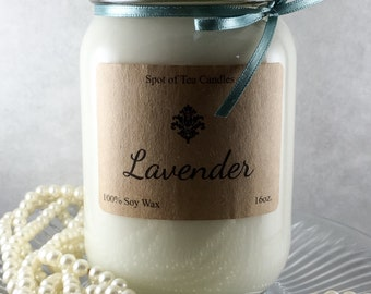 Hand-Poured Soy Candle - Lavender 16oz.