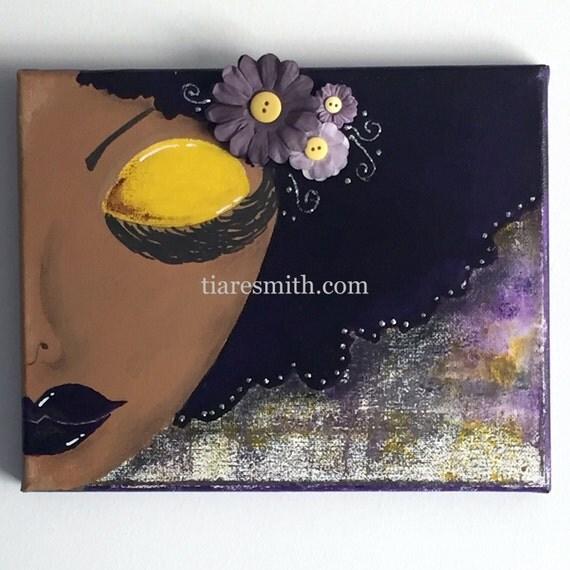 OOAK Original Sassy Purple and Gold 10x8