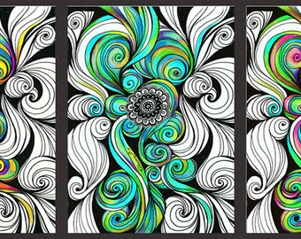 3 Piece Wall Art Abstract Zentangle Paintings, Set of 3 Canvas Prints, Fantasy Art Mandala Drawing, Psychedelic Trippy Art Painting Print