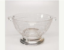 Take 25% Off Sale Beautiful Vintage Sterling Silver Wedding Lace Divided Glass Serving Bowl Featuring Beautiful Handles and Hallmarked Desig