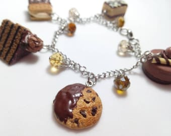 Chocolate Dessert Bracelet, Food Jewelry, Food Charms, Chocolate Mousse, Cake Charm, cookie Charm, Statement Bracelet, Charm bracelet, Smore