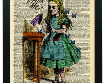 Alice in Wonderland Art: Colorized Antique Book Art Print Features Drink Me Alice Book Print  On 1946 Dictionary Page Wall Art, Collectible!