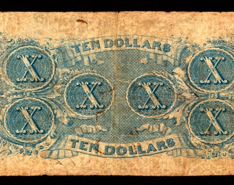 Lovely 10 Dollar Confederate CSA Currency Type 59 Dated April 6,1863, Used