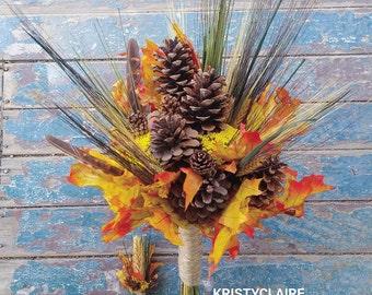 Fall Pine Cone, Autumn Leaf and Wheat Bridal Bouquet