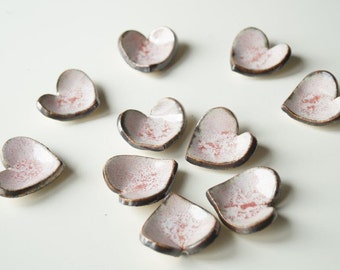 10 Pink Heart, Wedding Favors, Ceramic Heart , 10 pieces, Little Heart Bowl, Wedding Party Favors, Wedding gift, READY TO SHIP