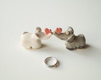 Elephant Wedding Cake Topper Couple Ceramic Decoration Figurine