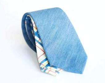 Pale denim tie, slim necktie