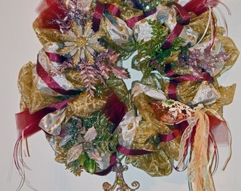 Christmas Wreath, Deco Mesh Wreath, Holiday Wreath, Door Decoration, Victorian Memories, Ready to Ship!