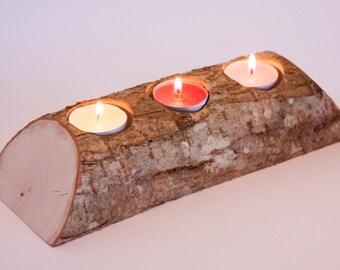Rustic log candle holder, tea light holder, woodland wedding centerpiece, rustic wedding decor, home decor, country wedding, christmas decor