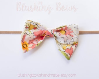 Floral Fabric Bow, Hand Tied Fabric Bows, Baby Girl, Toddler, Girls Fabric Bow Headband or Hair Clip