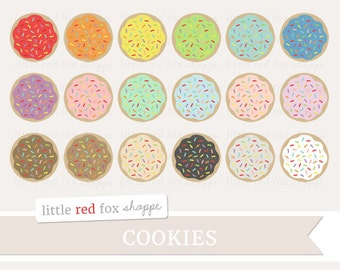 Cookie Rainbow Sprinkles Clipart, Cookie Clip Art Frosting Icing Dessert Cooking Baking Cute Digital Graphic Design Small Commercial Use