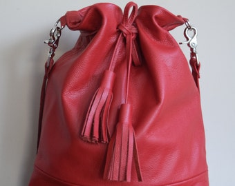 Red  Handmade Large Leather Drawstring Bucket Bag