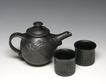 Pottery Teapot with Cups, Stoneware Tea Set, Ceramic Teapot, Hand Thrown Tea Pot
