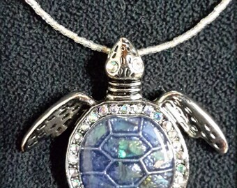 Turtle Pendant on Handmade Glass Bead Chain