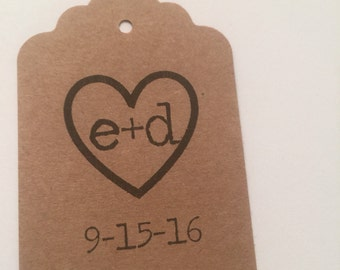 Set of 24 Personalized Kraft Heart Typewriter Initial Wedding Bridal Shower Gift Tags Favor Tags