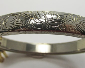 Vintage - Collectible - Etched Bracelet - Jewelry - Gold - Etched - Bracelet - Bangle - Flawless - Super - Floral - Women - Gift - Birthday