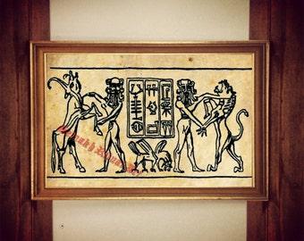 219# Ancient sumerian print, babilonian illustration, Sumerian poster, occult print, antique decor, cabin decor, ancient history,