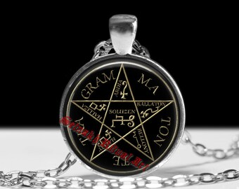 Pentagram of Solomon necklace, Pentacle Tetragrammaton pendant, Lemegeton, Goetia, Summoning spirits, magic talisman, occult lamen, #266