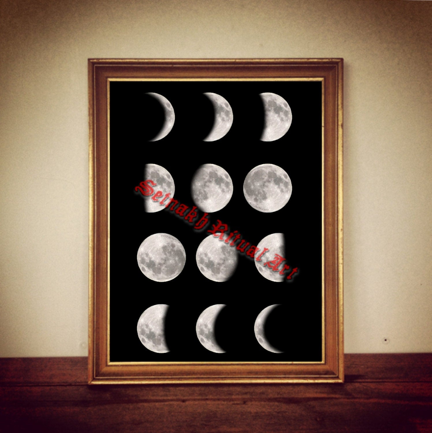 Moon Print Phases Of The Moon Illustration Astronomy Decor