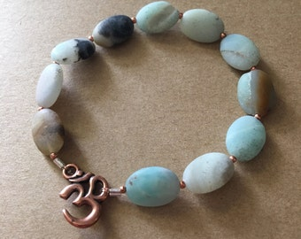 black matte amazonite | copper om