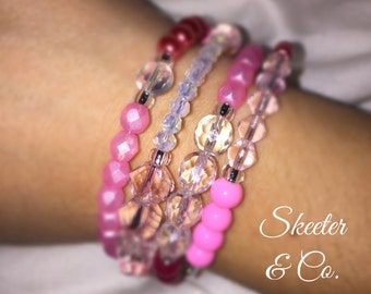 Think Pink bangle wrap bracelet