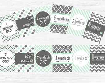 INSTANT DOWNLOAD- Mint and Charcoal baby milestone cards x12