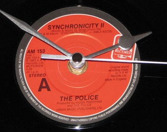 "The Police synchronicity II  7"" vinyl record clock"