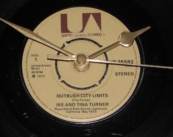 "Ike & Tina Turner nutbush city limits  7"" vinyl record clock"