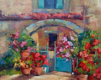 Framed Italian painting courtyard flowers Tuscany decor original oil of Luciano Rosati Italy
