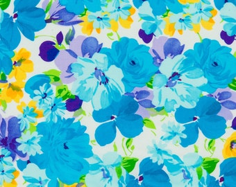 Robert Kaufman OOP Retro Floral Fabric - Simply Sweet Collection - DVK-6055-81 in Turquoise - One Yard