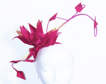 Magenta Felt Flower Headband With Curled Quill And Feather Detail