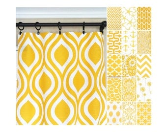 Yellow Window Curtains.Kitchen Curtains.Yellow Curtain Panels.Nautical  Curtains.Yellow Drapes