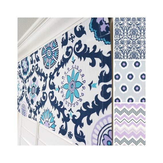Navy blue window valance grey valance lavender valance blue for Happy floors valencia grey