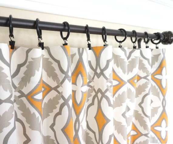 Orange Window Curtains.Grey Curtain by TheDesignerTouch on Etsy