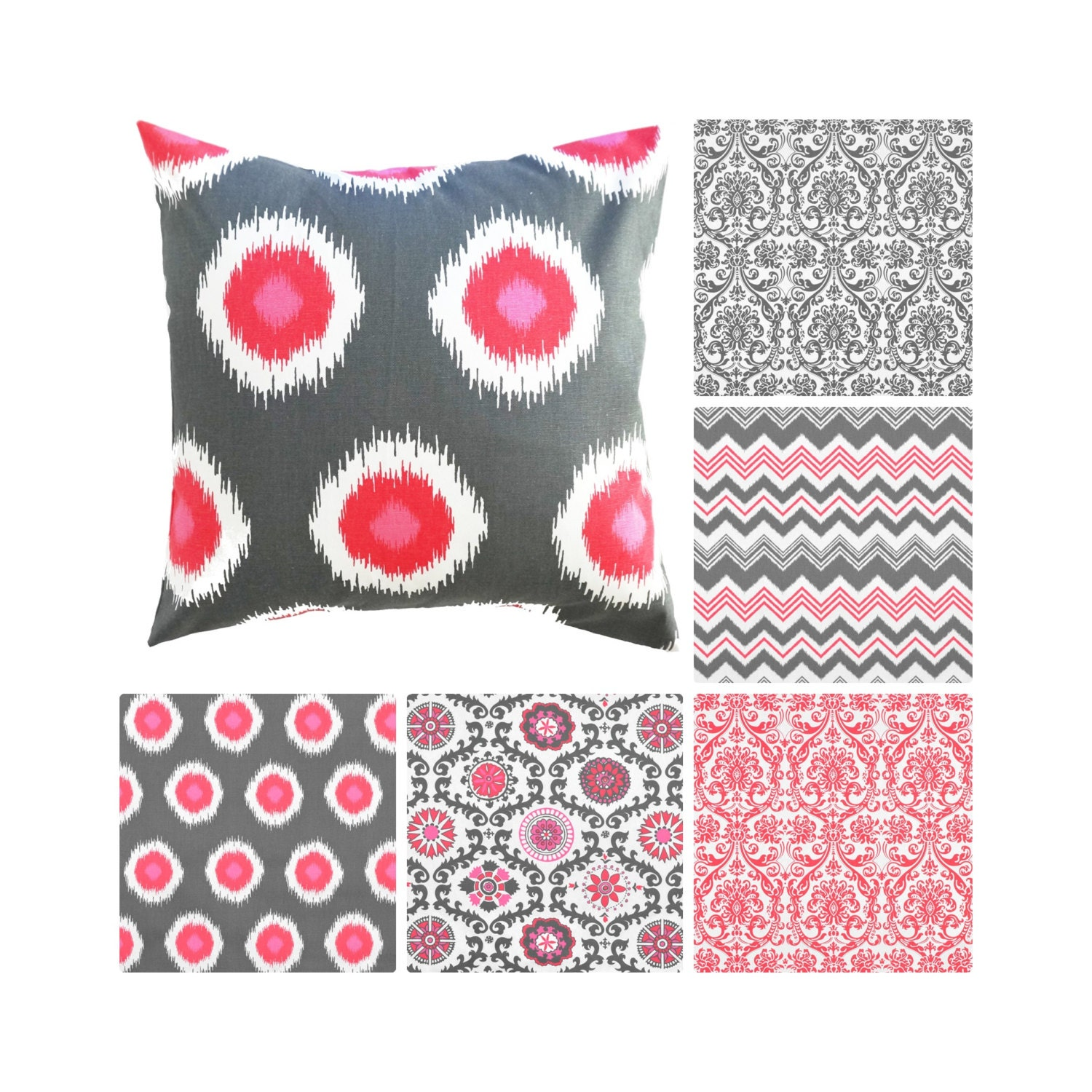 Grey And Pink Decorative Pillows : Pink Grey Decorative Pillows.Pink Pillow Covers.Red Damask