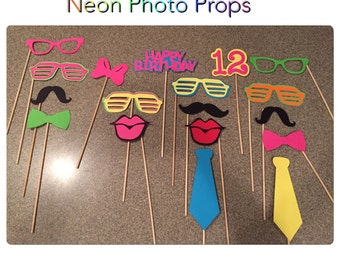 Neon Photo Booth Props, brightlight booth boothprops, 80s props, throw back 80s party, birthday props, neon party
