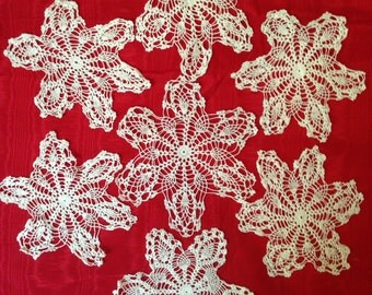 7 Vintage Crochet Large Snowflakes