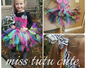 Rock star tutu dress, rockstar tutu, rock star birthday, halloween, 2t 3t 4t 5t size 6 7 8 10 12
