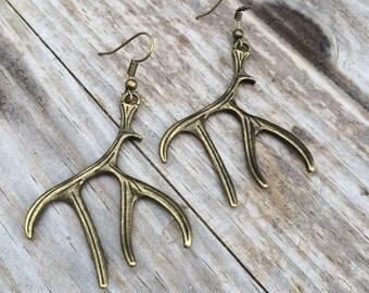 Antler Earrings, Bronze Deer Antler Earrings