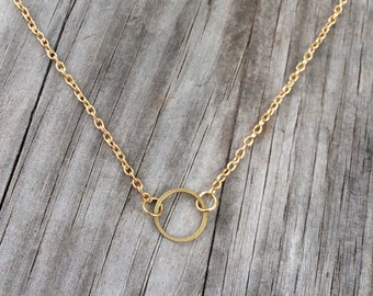 Gold Circle Necklace, Circle Necklace, geometric Necklace, Simple Necklace, long necklace