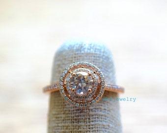 Rose Gold .71 Carat Cognac Diamond Engagement Ring