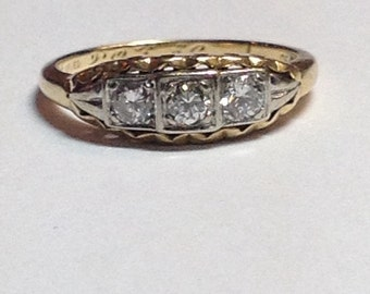 SALE Vintage Mid Century .30cttw Diamond 14k Yellow and White Gold Ring, Band Lots of Sparkle