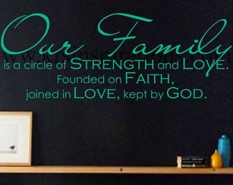 Our Family Circle of Strength and Love wall decal