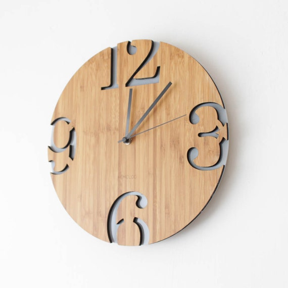 Modern Big Numbers Bamboo Wood Wall Clock