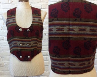 Vintage 80s 90s Made in USA womens Western Aztec Rose design Vest. Sz S